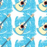 Pattern seamless Guitar-05. Seamless guitar pattern on abstract blue background. Stringed instrument. Linear images of a cassette, a mediator, a vinyl, a star Royalty Free Stock Photography