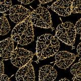 seamless guld- leaf för bakgrund Arkivbild