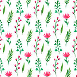 seamless gullig blom- modell Sommarblommor, filialer och sidor Vektorvattenfärgmålning, för tapet som förpackar, textil Royaltyfri Bild