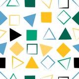 seamless gullig modell Fyrkanter trianglar, borsteslaglängder Ändlös textur kan användas för utskrift på tyg eller papper Royaltyfri Fotografi