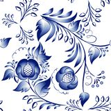 Seamless gzhel. Seamless blue floral pattern in gzhel style. Vector illustration royalty free illustration