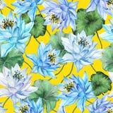 seamless härlig blom- modell Stora blommor för blå lotusblomma med gräsplansidor på gul bakgrund illustratören för illustrationen Arkivfoto