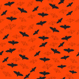 Seamless Halloween Background with Bats Flying Royalty Free Stock Images