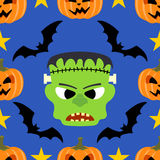 Seamless  halloween background with Frankenstein Stock Photo