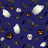Seamless Halloween background. With ghosts, bats and black pumpkins Royalty Free Stock Photo