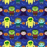 Seamless Halloween background with kids in Halloween costume Stock Photography