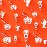 Seamless Halloween background. Light flat icons with long shadows on an orange background. Stock Photo