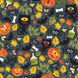 Seamless Halloween background with monsters. Royalty Free Stock Photo
