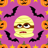 Seamless  halloween background with Mummy Stock Photos