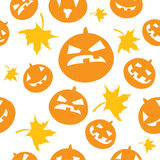 Seamless halloween background with scary pumpkins Stock Photography