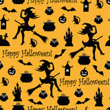 Seamless halloween background. Seamless square background with symbols of Halloween silhouettes on an orange background Stock Images