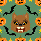 Seamless  halloween background with Werewolf. Halloween background seamless with Werewolf Royalty Free Stock Photography