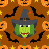 Seamless  halloween background with Witch Stock Images