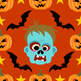 Seamless  halloween background with Zombie Stock Images