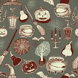 Seamless Halloween colourful pattern with festive Halloween illustrations. Design for wrapping paper, paper packaging. Seamless Vector Halloween colourful orange Stock Photography