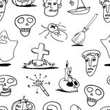 Seamless halloween doodle Royalty Free Stock Photo