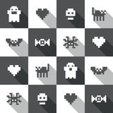 Seamless Halloween festive black and white pixel pattern in vector. And flat design style Stock Photos