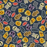 Seamless Halloween flat design. Design for wrapping paper, paper packaging, textiles, holiday party invitations, greeting card. Design for wrapping paper, paper Stock Photography