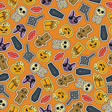 Seamless Halloween flat design. Design for wrapping paper, paper packaging, textiles. Holiday party invitations, greeting card Stock Photos