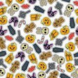 Seamless Halloween flat design. Design for wrapping paper, paper packaging, textiles, holiday party invitations, greeting card Royalty Free Stock Photography