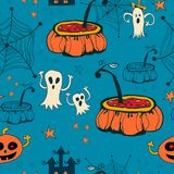 Seamless halloween with ghosts on blue background. Royalty Free Stock Photo