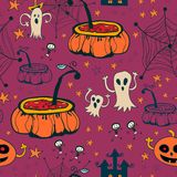 Seamless halloween with ghosts Royalty Free Stock Photography