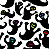 Seamless halloween ghosts. Seamless Halloween illustration with doodle, cheerful ghosts Stock Photos