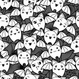 Seamless halloween kawaii cartoon pattern with Royalty Free Stock Photography