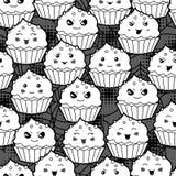 Seamless halloween kawaii cartoon pattern with Stock Images