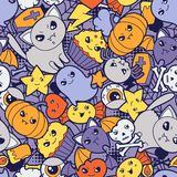 Seamless halloween kawaii pattern with cute Stock Photos