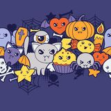 Seamless halloween kawaii pattern with cute Stock Images