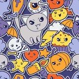 Seamless halloween kawaii pattern with sticker Stock Photos
