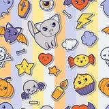 Seamless halloween kawaii pattern with sticker Stock Photo