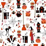 Seamless halloween party pattern with icons Royalty Free Stock Image