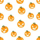 Seamless halloween party pumpkin decoration scary faces smile emoji pattern isolated flat design vector illustration Stock Image