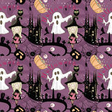 Seamless Halloween pattern. With cute Witch and spooky Ghost Royalty Free Stock Images