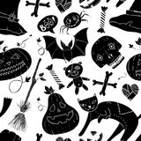 Seamless  halloween pattern with cat, teddy bear, pumpkin, candy, bones, skull, heart, hat and broom in cartoon style drawing silh Stock Photography