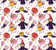 Seamless halloween pattern with children in costumes. Witch and pumpkin background. Stock Photography