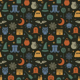 Seamless Halloween pattern. Seamless Halloween colorful pattern with festive Halloween icons. Design for wrapping paper, paper packaging, textiles, fabric Royalty Free Stock Photography