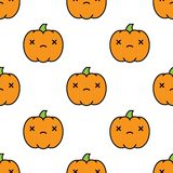 Seamless halloween pattern with dead kawaii style pumpkins on white background. Seamless halloween pattern background with dead kawaii style pumpkins on white Stock Image