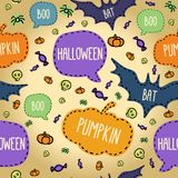 Seamless Halloween pattern with flying bats and Stock Image