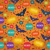 Seamless Halloween pattern with flying bats and Royalty Free Stock Photography