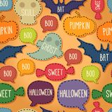 Seamless Halloween pattern with flying bats and stock illustration