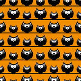 Seamless halloween pattern with funny cartoon owls Royalty Free Stock Photography