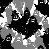 Seamless Halloween Pattern, Ghosts. Seamless Patterns, Symbols Halloween Holiday, Ghosts and Bat, Black and Grey Silhouettes, Tile Background. Vector Royalty Free Stock Image