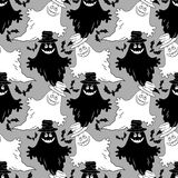 Seamless Halloween Pattern, Ghosts Stock Photos