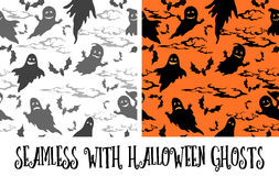 Seamless Halloween Pattern, Ghosts. Seamless Patterns, Symbols Halloween Holiday, Ghosts, Bats, Clouds Grey and Black Silhouettes on White and Orange Background Royalty Free Stock Photography