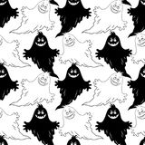 Seamless Halloween Pattern, Ghosts Stock Photography