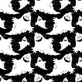 Seamless Halloween Pattern, Ghosts. Seamless Patterns, Symbols Halloween Holiday, Ghosts, White Silhouettes on Tile Black Background. Vector Stock Images