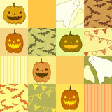 Seamless halloween pattern with ghosts, pumpkins, bats.  Stock Photography